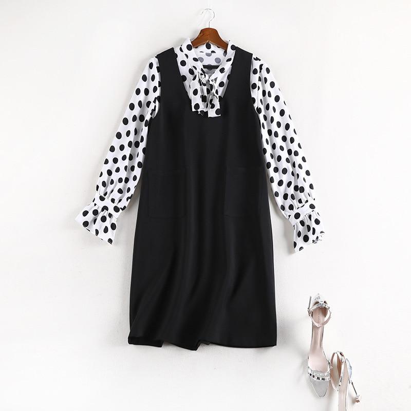 Lan Mu Square Large Size Dress Polka Dot Shirt By Age Two-Piece Set Large GIRL'S Size Vest Western Style Fashion Set 7961