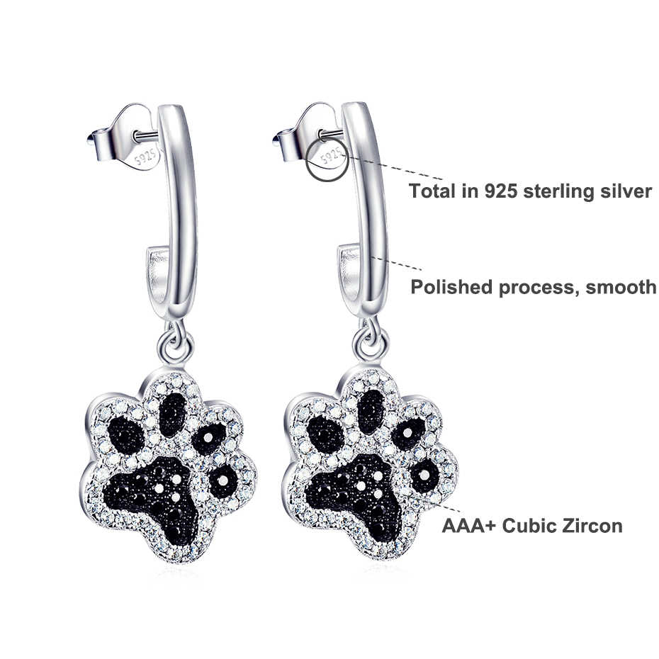 Sterling Silver 925 Stylish Cat Dog Paw Print Stud Earrings