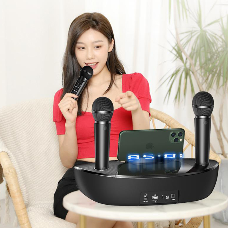 Wireless bluetooth speaker microphone family KTV singing dual microphone portable outdoor speaker subwoofer subwoofer Boom box 5