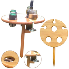 Portable Wine Table With Foldable Round Desktop Mini Wooden Picnic Table Easy To Carry Wooden Table Outdoor Garden Wine Rack