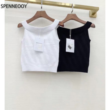 SPENNYMOOR 2021 Designer Brand Summer Knitting Tank Tops  Women Fashion Crystal Buttons Black White Tops