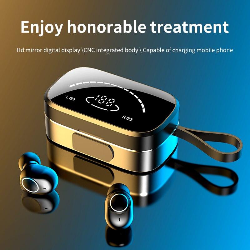 Wireless Headphones Bluetooth Headphone TWS In Ear High Definition Mirror Digital Display Headset Sports Waterproof Earphone