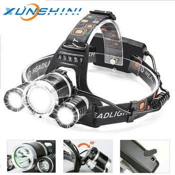 3 Led Rechargeable  Headlamp 4000LM Head Lamp Torch Headlights Lantern Waterproof Bulbs 3 T6 Lithium Ion Use 18650 Battery