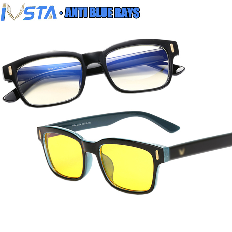 IVSTA Blue Light Glasses Computer Spectacle Frame Gaming Glasses Men Anti Blue Rays Blocking Prescription Myopia Nerd Optical