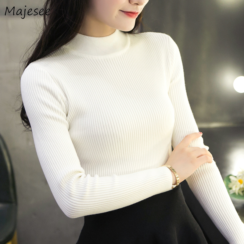 Pullovers Winter Thick Knitted Solid Elegant Women Sweaters Slim Bodysuit Harajuku Korean Style Causal Soft High Quality Females