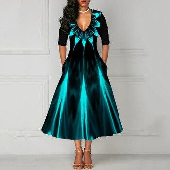 Half Sleeve V Neck Vintage A Line Printing Women Maxi Dress Standard-Waist Dress 2019 Autumn Dress Evening Party Beach Dress 4