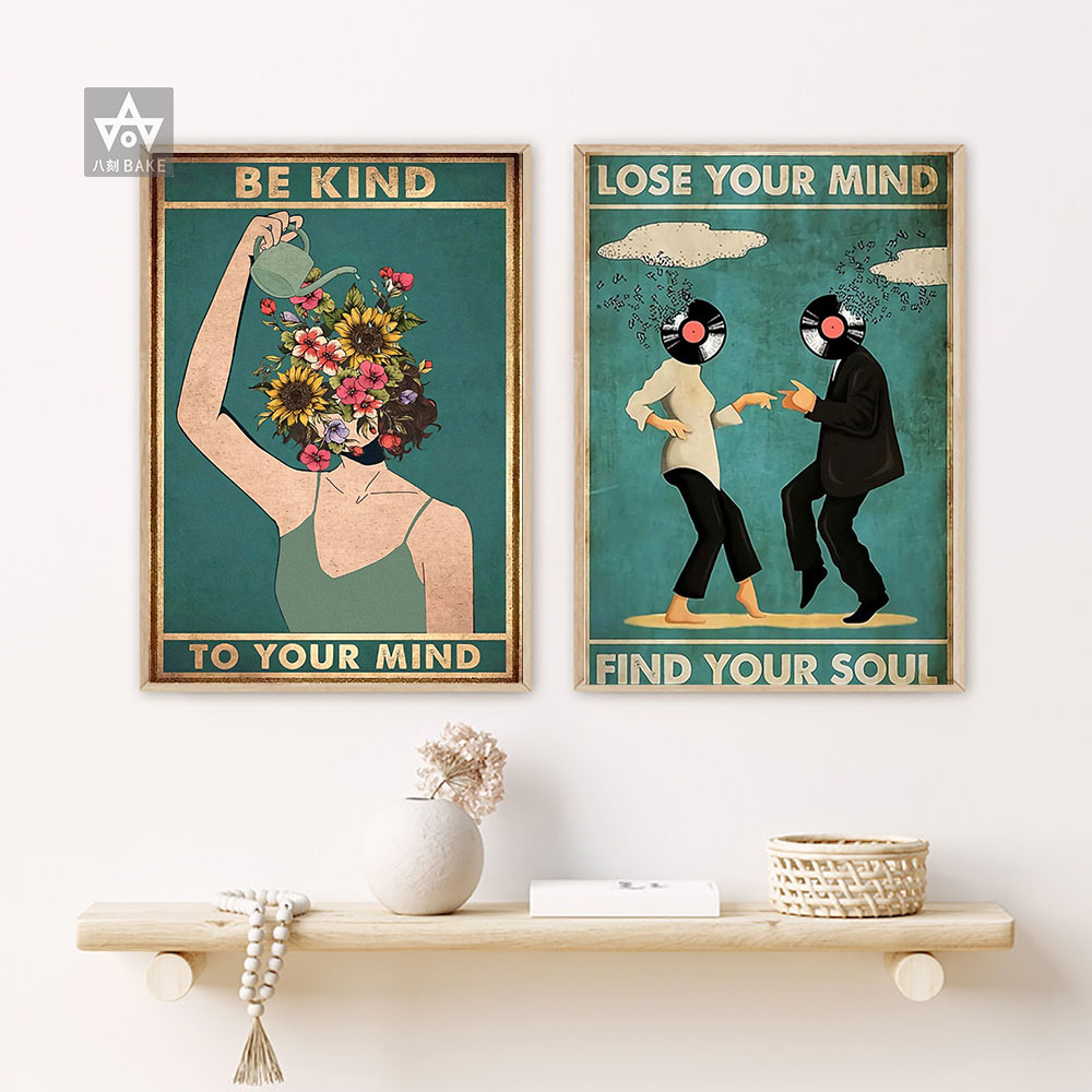 Canvas Painting Wall-Art Vintage Pictures Living-Room-Wall Dancing Prints Quotes Kind-To-Your-Mind