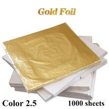 Imitation Gold Leaf Foil Sheets Color 2.5 Copper Leaf 1000pcs 14X14cm for Gilding Art Work Nail Decoration Gold Leaf Foil Paper