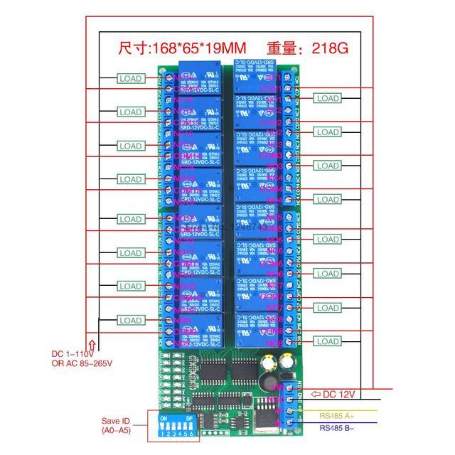 12V 16 canales RS485 relé Modbus RTU protocolo Serial control remoto interruptor PLC Tablero de control