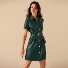 Women Vintage Sashes Front Button A-line Dress Short Sleeve Turn Down Collar Sol