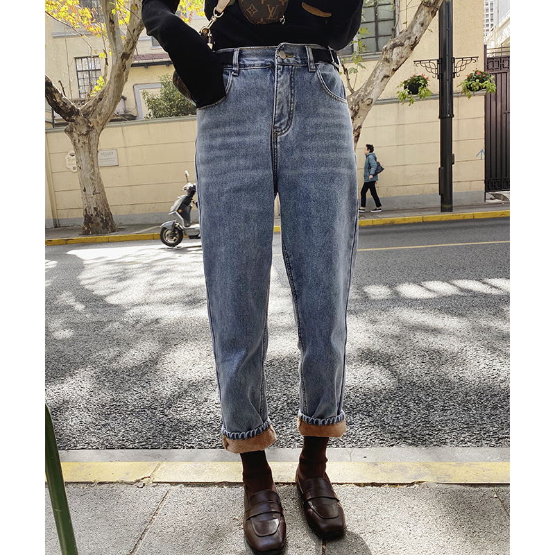 MISHOW Winter Women Warm Thick Jeans Casual High Waist Zipper Cotton Long Pant MX19D2378