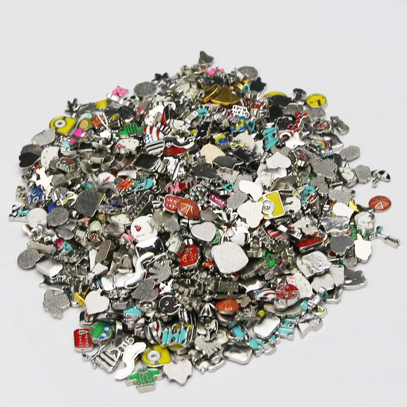 Floating Locket Charms Jewelry Glass Assorted Fashion Mixed for Living 100pcs/Lot New title=