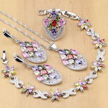 Juego de joyas de plata 925 con cuentas de circonio Multicolor de flores para mujer, pendientes de boda/colgante/anillo/pulsera/collar