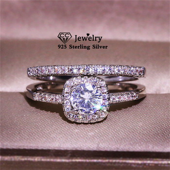 CC Couple Rings For Women Silver S925 Cubic Zirconia Set Ring Wedding Engagement Bridal Fine Jewelry Accesories CC2384
