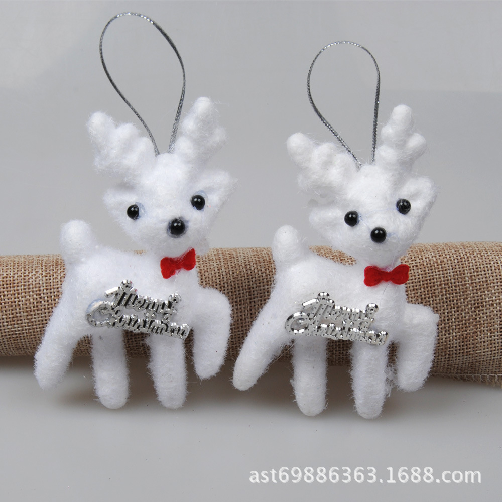 2Pcs/bag Cute White Foam Christmas Bear Deer Hanging Pendant Christmas Tree Pendant Decoration Kids Gift Home Decor Drop Ship