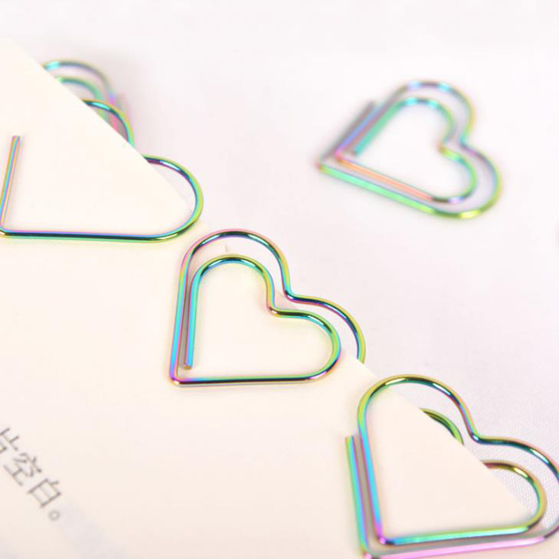12 Pcs/pack Rainbow Color Love Heart Shaped Hollow Out Metal Paper Clips Bookmark Photo Ticket Memo Binder Clip Stationery