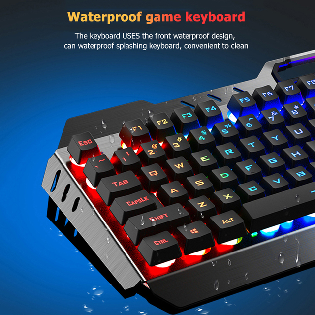 104 Keys Mechanical Feel Wired Gaming Keyboard Mouse Set Metal Phone Holder RGB Backlit Mouse Keyboard Set for Desktop Laptop PC 4