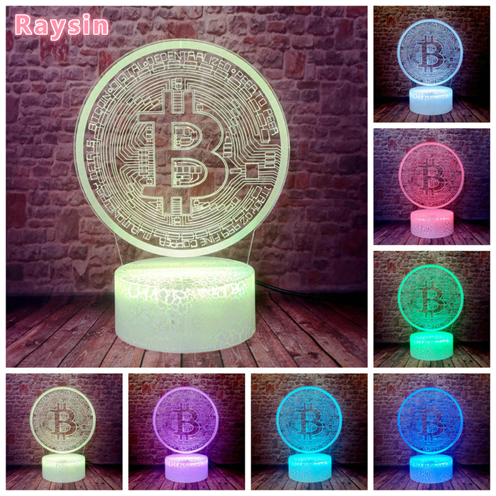 Lustre Novelty Bitcoin Sign 3D LED Bulb 7 Colors Change RGB Night Light Kids Bedroom Home Decor Child Kids Xmas Birthday Gifts