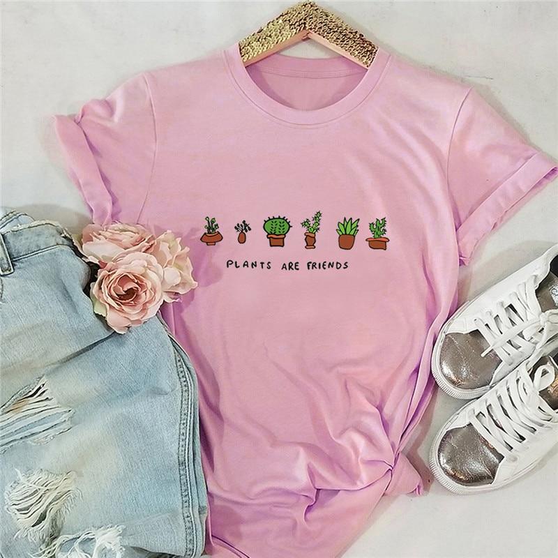 Plus Size S-5XL New Plants Print 100%Cotton T Shirt Women Shirts O Neck Short Sleeve Tees Summer T-Shirt Pink Tops TShirt Women