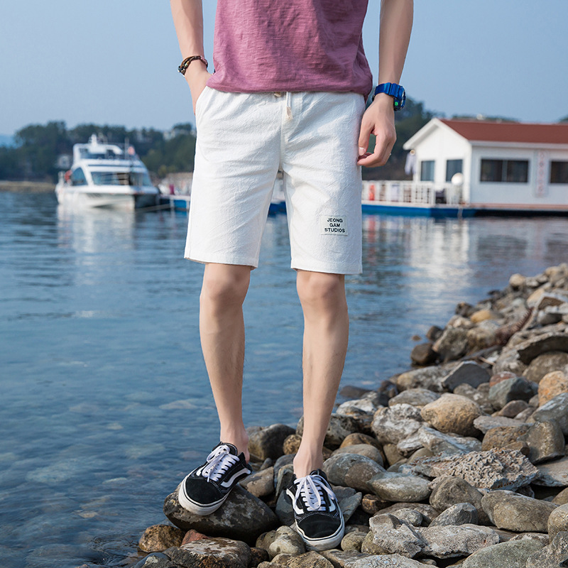2018 Summer New Style Casual Korean-style Beach Shorts Cotton Linen Slim Fit Solid Color Simple Men's Trousers