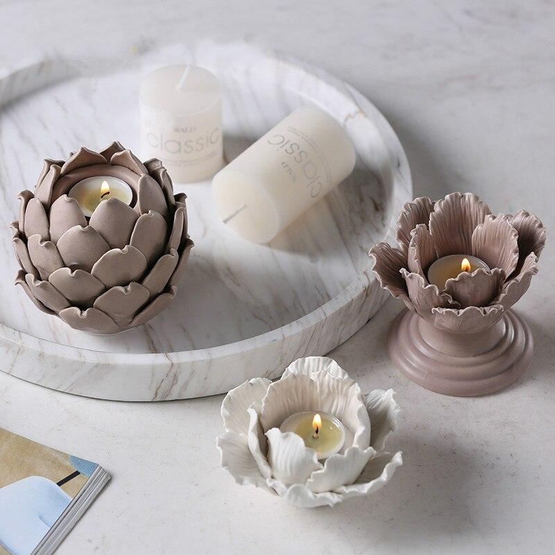 Ceramic Candlesticks Candles Pendants Lotus Lanterns Crafts Tables Creative Living Room Decorations