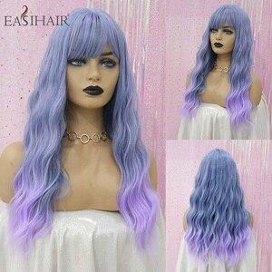 Image 5 - EASIHAIR długie ciało fala peruki syntetyczne dla kobiet szary do fioletowego Ombre sztuczne włosy Cosplay peruki z grzywką peruki termoodporne