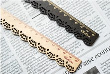 1pcs/lot vintage Creative lace pattern design wood Ruler bookmark 2 color 15 CM straight ruler For Kids Student Gift
