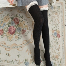 Fashion Lace Partchwork  Knee Socks Women Cotton Thigh High Over The Knee Stockings For Ladies Girls 2020 Warm Long Stocking