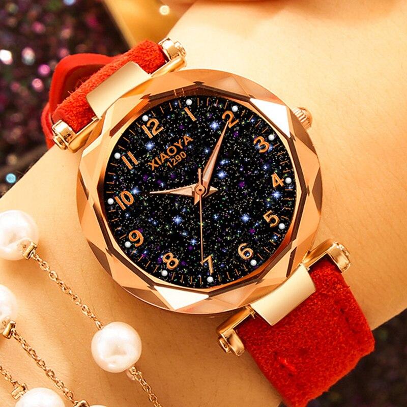 Exquisite Luxury Women Watches Fashion Dress Ladies Watch Elegant Starry Sky Dial Leather Strap Quartz Wristwatch Clock Women