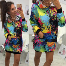 Ladies Hoodie Casual Color Loose Hoodie Print Long Sleeve Autumn Fleece Ladies Streetwear Pullover S-3XL