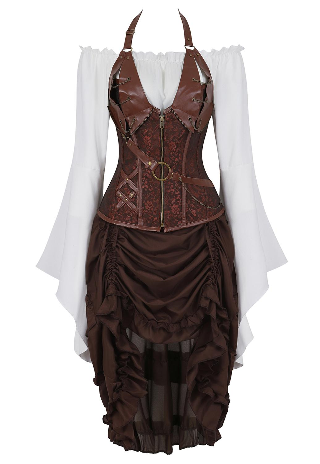 Grebrafan Halter Leather Corset with Pirate Skirt and Blouse 3 Piece Costume Steampunk