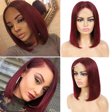 99J RedWine Lace Closure Wig Brazilian Straight 4x4 Human Hair Wigs For Black Women Pre Plucked Short bob Lace Hair Wig SOKU(China)