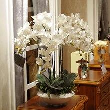 1PC מלאכותי Phalaenopsis פרח משי פרפר סחלב סניף מלאכותי פרחים לחתונה בחצר האחורית סלון קישוט