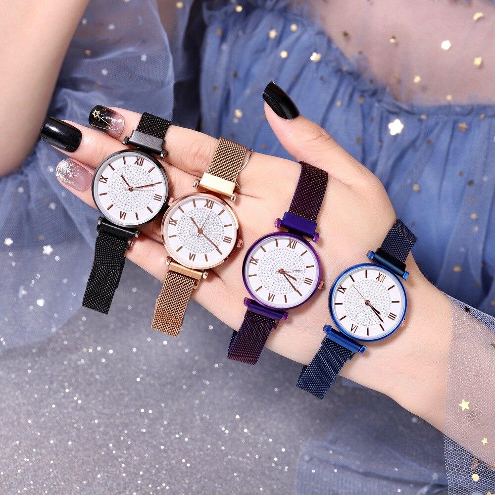 2019 New Luxury Star Watch Ladies Magnet Buckle Roman Literal Starry Simple Trend Watch Women Stainless Steel Reloj Mujer