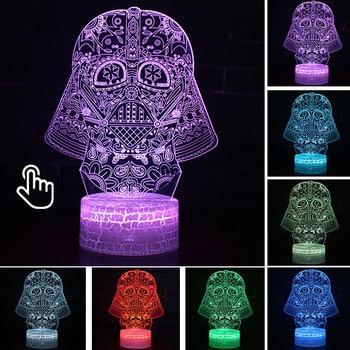Star Wars Darth Vader Anime Figure Acrylic 3D Illusion LED Lamp Colourful NightLight Death Star Mask Yoda Model Toys Child Gift 22