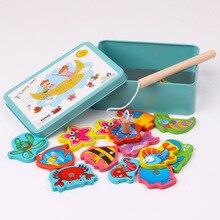 Детские деревянные магнитные рыболовные игрушки 16 шт., набор, 3D деревянные забавные рыбки, Обучающие Мультяшные игрушки для детей, подарки на день рождения