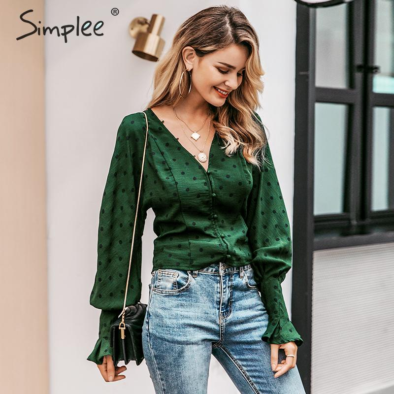 Simplee Elegant Buttons Dot Print Women Blouse Shirt Ruffle Lantern Sleeve V Neck Female Top Autumn Winter Office Ladies Blouses