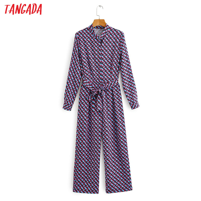 Tangada Women China Print Long Jumpsuit With Slash Long Sleeve 2020 Spring Female OL Elegant Jumpsuit 1F70