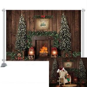 Фон для фотосъемки с изображением рождественских елок, окон, венков, зимнего снега, деревянного дома, фотосессии, реквизит на заказ
