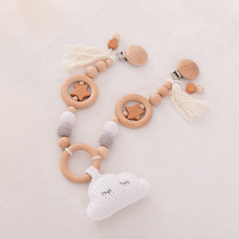 chupeta corrente de silicone chocalho mordedor de madeira do bebê