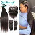 Rosabeauty, 8- 28, 30, 32 дюйма, бразильские человеческие волосы Remy, натуральные прямые волосы, 3, 4 пряди, 5x5, кружевные, 13x4 фронтальные