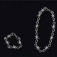 ANGELADY 1 комплект панк ювелирный набор унисекс для мужчин и женщин колючая проволока Brambles ожерелье браслет