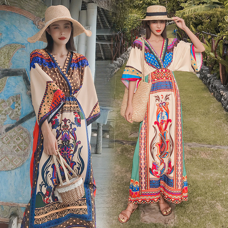 Summer Beach Women Sexy Bohemian Print Long Dress Traditional Chinese Lady Indian Pakistan Boho Cloak Vietnam Style Fashion Robe