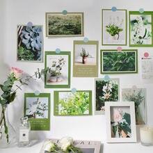 Ins с цветочным принтом «розы» светло голубой зеленый открытки