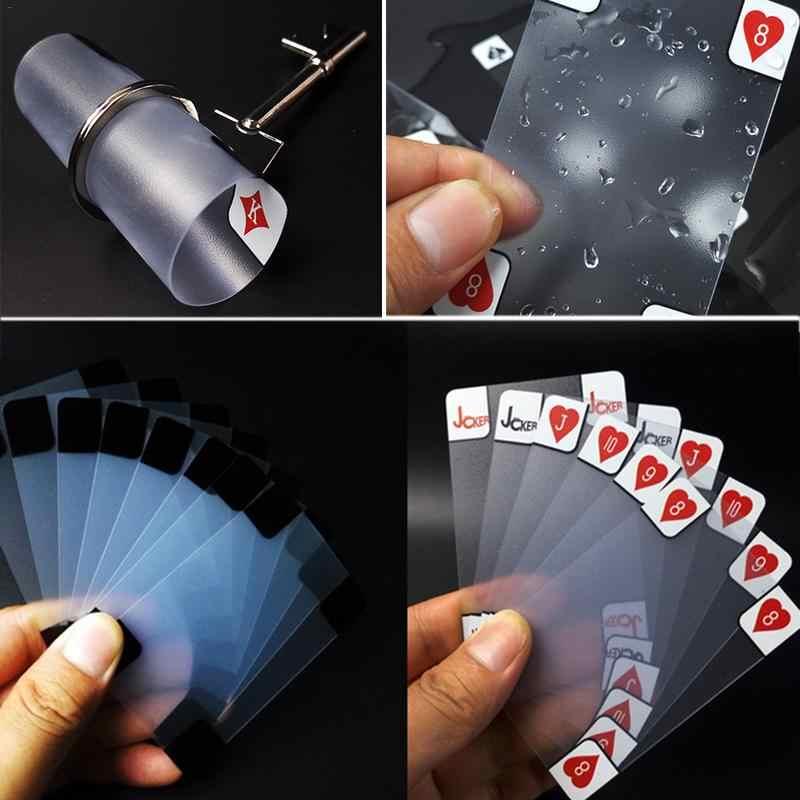 Carte à jouer en plastique créatif Transparent cristal étanche PVC Poker cartes ensemble famille Fun jeu tours de magie outil 5.7*8.8 Cm