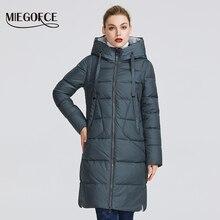 Miegofce 2020 nova coleção de inverno casaco feminino parka comprimento abaixo do joelho à prova de vento jaqueta com gola e capuz