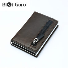 BISI GORO RFID Crazy Horse Leather Men Wallet Rfid Mini Wallet Small Slim Metal Male Purse Thin Walet Money Bag Luxury Vallet(China)