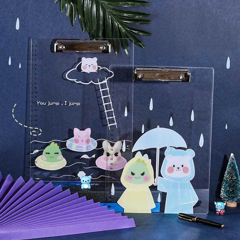 Kawaii Transparent Acrylic Korean Folder A4 Multi-function Clip Test Paper Clip Anime Writing Board Clip File Organizer