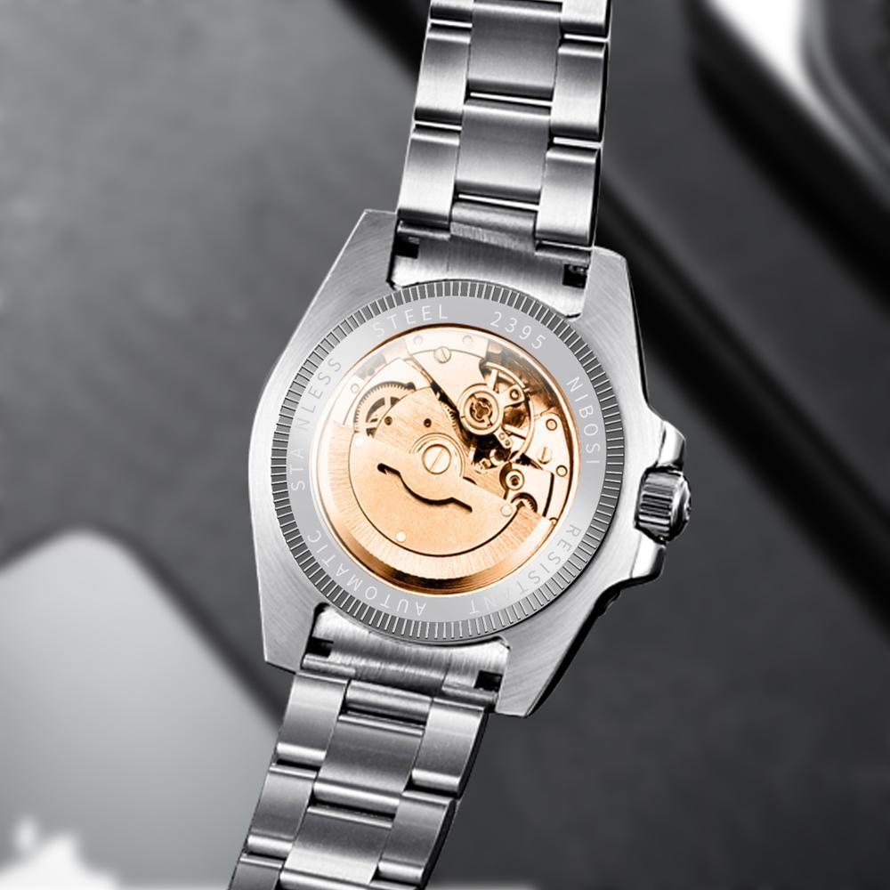 NIBOSI Mechanical Watch Men 10Bar Automatic Luxury Men Watch Sport Wristwatch Two-Tone Reloj Hombre Tourbillon Relogio Masculino 5
