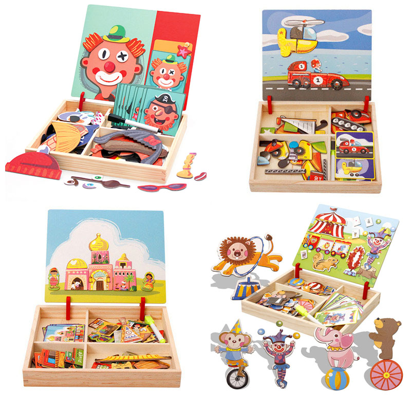 Wooden Kids Educational Toys Magnetic Puzzles Game Set Easel Dry Erase Board Puzzle Drawing Toys Early Educational Toys Gift